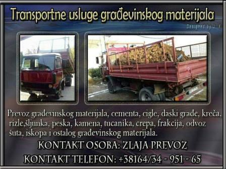 Prevoz građevinskog materijala Beograd Leštane